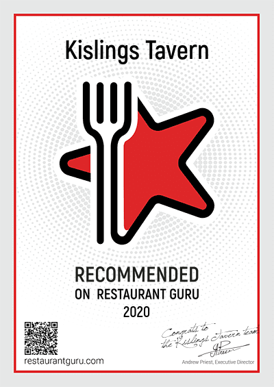 Kislings Restaurant Guru Award 2020